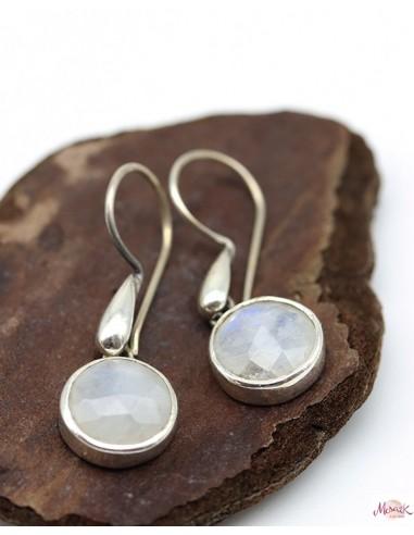 Boucles d'oreilles argent et pierre de lune - Mosaik bijoux indiens