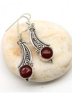 Boucles d'oreilles argent et pierre orange - Mosaik bijoux indiens