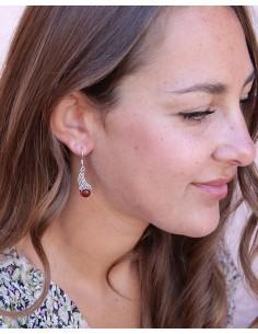 Boucles d'oreilles argent et pierre orange - Mosaik bijoux indiens 2