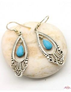 Boucles argent et turquoise bleue - Mosaik bijoux indiens