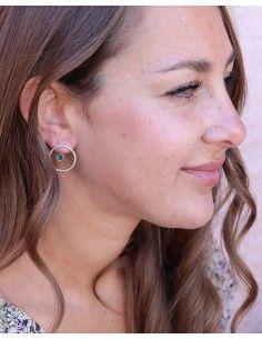 Clous d'oreilles argent et agate verte - Mosaik bijoux indiens 2