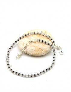 Chaîne de pied argent pierres blanches - Mosaik bijoux indiens