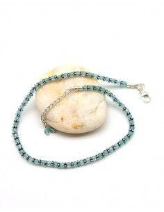 Chaine de pied pierre bleue argent - Mosaik bijoux indiens