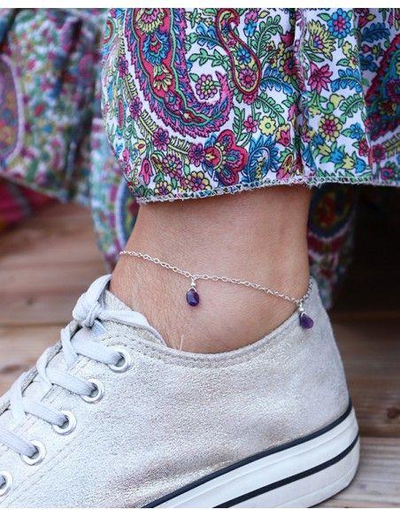 Bijou de pied en argent et pierres violettes - Mosaik bijoux indiens