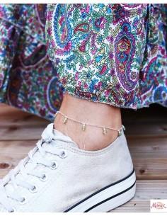 Chaîne cheville argent fine et perles vertes - Mosaik bijoux indiens 2