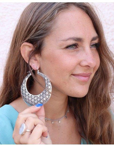Boucles d'oreilles plaqué argent fleur de vie - Mosaik bijoux indiens