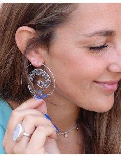 Créoles spirales argentées - Mosaik bijoux indiens 2
