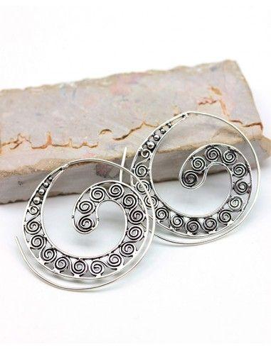 Créoles spirales argentées - Mosaik bijoux indiens