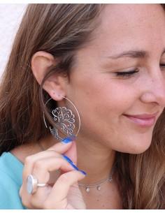 Boucles d'oreilles arbre de vie argentées - Mosaik bijoux indiens 2