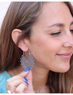 Boucles d'oreilles argentées ethniques - Mosaik bijoux indiens 2