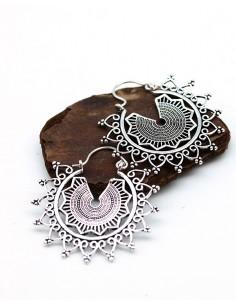 Créoles argentées ethniques - Mosaik bijoux indiens