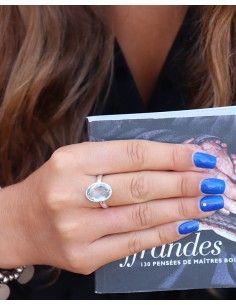 Bague argent et topaze bleue - Mosaik bijoux indiens 2