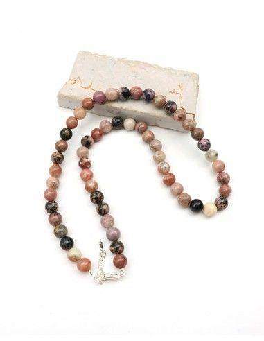 Collier rhodonite - Mosaik bijoux indiens