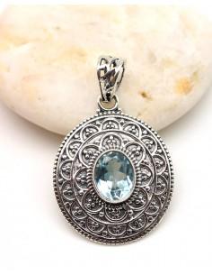 Pendentif argent et topaze bleue - Mosaik bijoux indiens