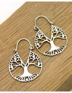 Boucles d'oreilles arbre de vie argent - Mosaik bijoux indiens