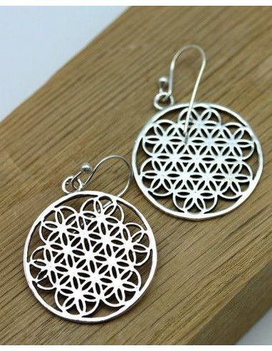 Boucles d'oreilles fleur de vie argent - Mosaik bijoux indiens