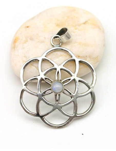 Pendentif graine de vie et pierre blanche - Mosaik bijoux indiens