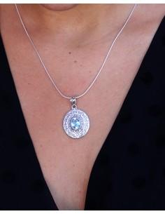 Pendentif argent et topaze bleue - Mosaik bijoux indiens 2