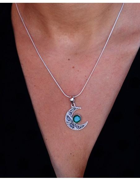 Pendentif ethnique croissant de lune - Mosaik bijoux indiens