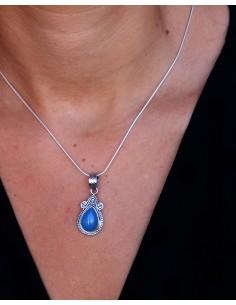 Pendentif ethnique travaillé pierre bleue - Mosaik bijoux indiens 2