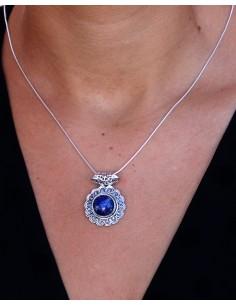 Pendentif lapis lazuli en argent - Mosaik bijoux indiens 2