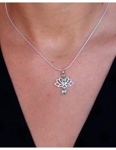 Pendentif lotus et péridot - Mosaik bijoux indiens 2
