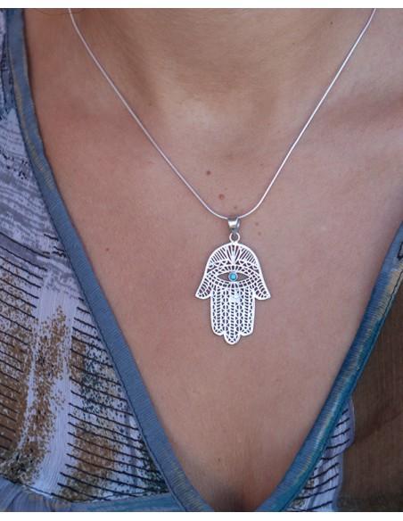 Pendentif oeil protecteur argent - Mosaik bijoux indiens