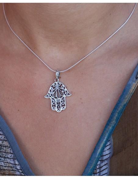Main de fatma en argent - Mosaik bijoux indiens