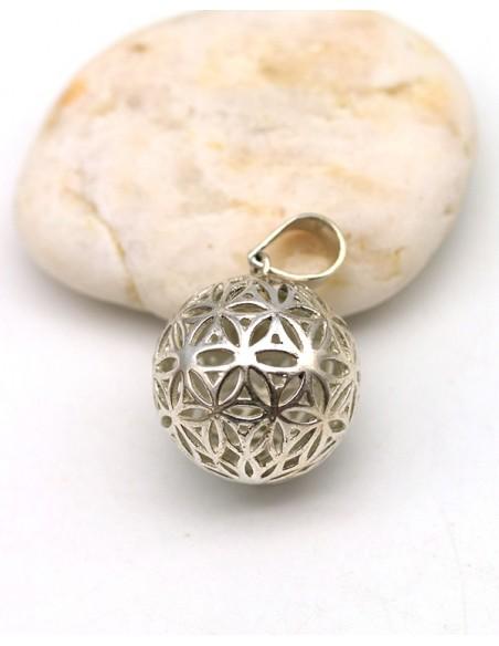 Pendentif fleur de vie boule argent - Mosaik bijoux indiens