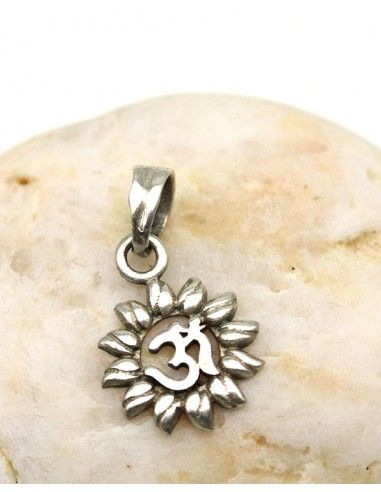 Pendentif fleur aum argent - Mosaik bijoux indiens
