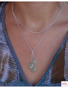 Collier argent pierres vertes - Mosaik bijoux indiens 2