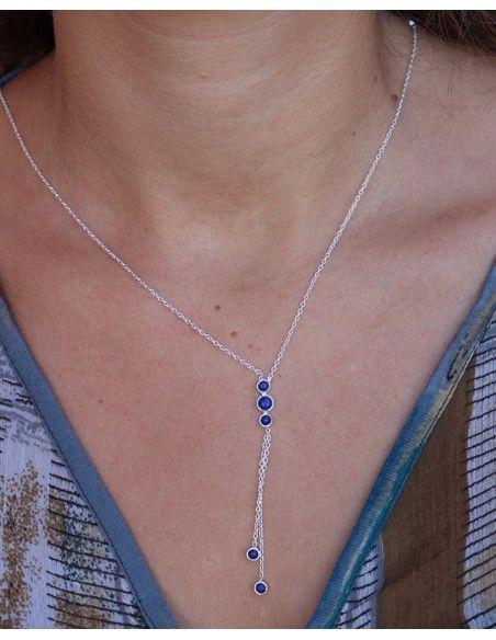 Collier argent fin et lapis lazuli - Mosaik bijoux indiens