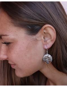 Boucles d'oreilles argent arbre de vie rondes - Mosaik bijoux indiens 2