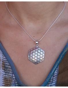 Pendentif fleur de vie argent - Mosaik bijoux indiens 2