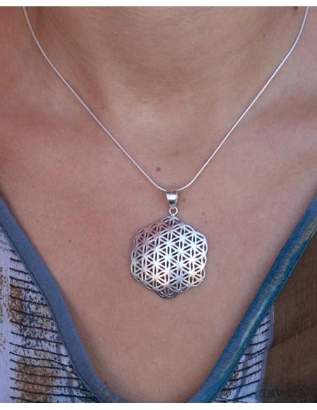 Pendentif graine de vie argent - Mosaik bijoux indiens