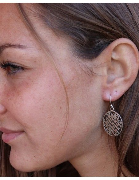 Boucle d'oreille Fleur de vie argent - Mosaik bijoux indiens