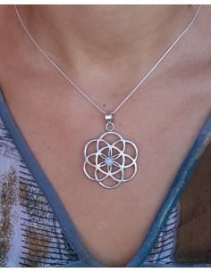 Pendentif graine de vie et pierre blanche - Mosaik bijoux indiens 2