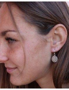 Boucles d'oreilles pendantes argent et fleur de vie - Mosaik bijoux indiens 2