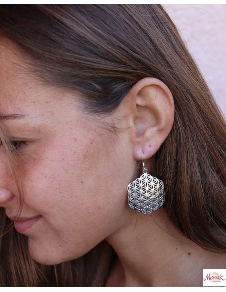 Boucles d'oreilles graine de vie argent - Mosaik bijoux indiens