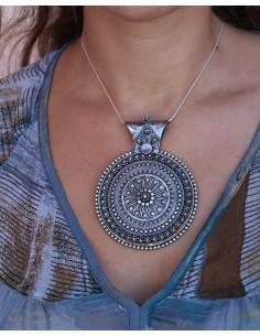 Gros pendentif ethnique argent - Mosaik bijoux indiens 2