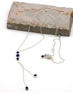 Collier argent et lapis lazuli - Mosaik bijoux indiens