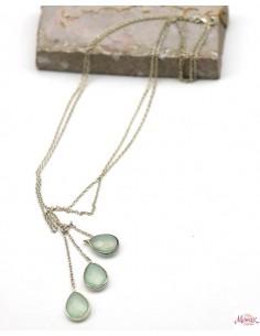Collier argent pierres vertes - Mosaik bijoux indiens