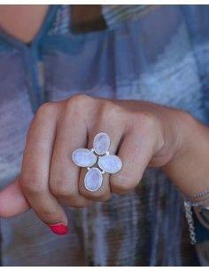 Bague pierres de lune - Mosaik bijoux indiens 2