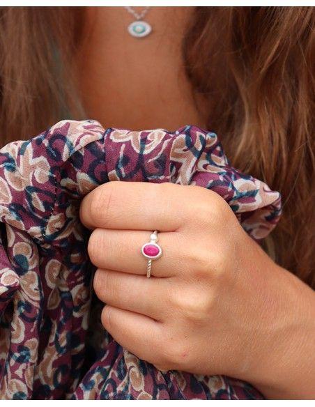 Bague argent pierre rose fushia - Mosaik bijoux indiens