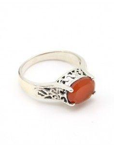 Bague argent pierre orange - Mosaik bijoux indiens