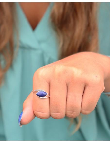 Bague argent pierre bleue - Mosaik bijoux indiens