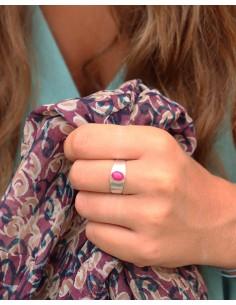 Bague argent pierre rose - Mosaik bijoux indiens 2