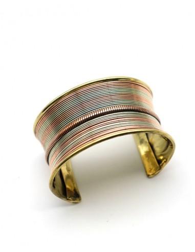 Manchette laiton et cuivre - Mosaik bijoux indiens