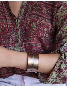 Manchette laiton et cuivre - Mosaik bijoux indiens 2