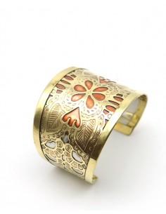 Bracelet doré motifs fleur cuivre - Mosaik bijoux indiens